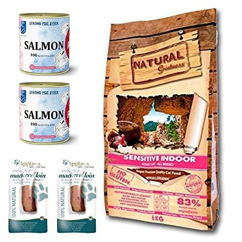 NATURAL GREATNESS - Pienso para Gatos esterilizados No Gluten Sensitive Indoor 6 Kg con Caldo de Salmon o Pavo y Lomos de Caballa   ANIMALUJOS (Caldo SALMÓN)