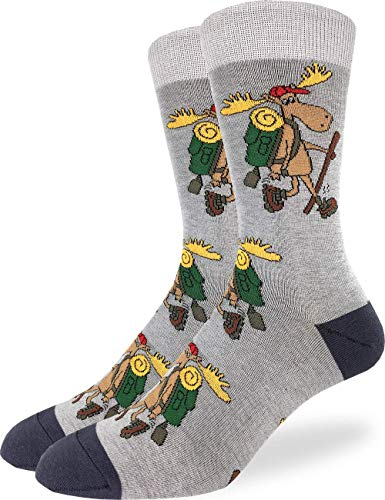 Good Luck Sock Men's Hiking Moose Socks - Grey, Adult Shoe Size 7-12