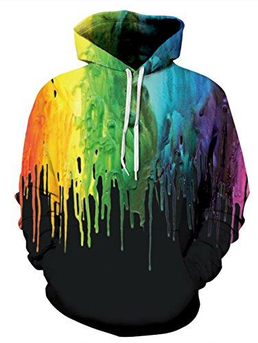 UNIFACO Teen Boys 3D Print Black Paint Splatter Hoodie Casual Pocket Hip Hop Hooded Sweatshirt (US M)