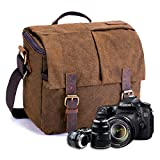 FOLUR Waterproof Vintage DSLR SLR Camera Messenger Bag Leather Satchel Canvas Shoulder Bag