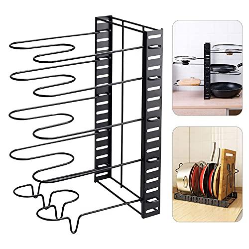 Soporte para sartenes de ahorro de espacio, 8 compartimentos ajustables para sartenes y sartenes, tapas para armarios de cocina, ollas y organizador móvil (5 baldosadores)