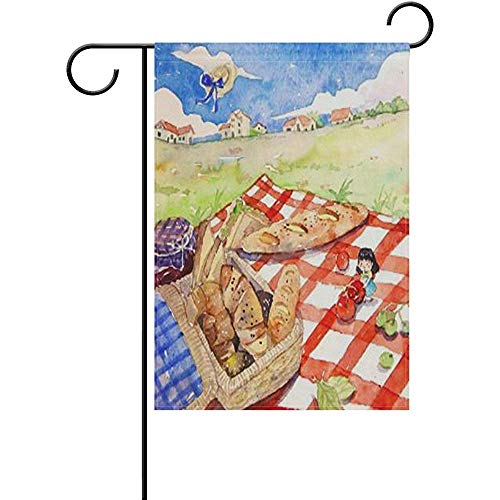 Emonye Garden Flag Yard Decoration, Welcome Spring Picnic Red Plaid Green Grass Lovely Girl Classic