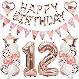 Ouceanwin 12 Cumpleaños Decoraciones Oro Rosa, Globos Numeros Gigante 12, Bandera de Globos Happy Birthday, Globos de Confeti, 12 años Fiesta de Cumpleaños Kit para Niñas y Mujeres