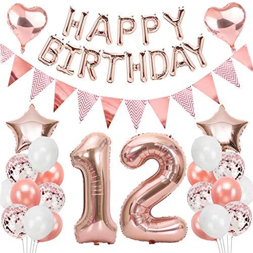 Ouceanwin 12 Ans Anniversaire Décorations Or Rose Ballons Deco Anniversaire pour Filles, Guirlande Happy Birthday Ballons, Géants Ballons Numéro 12, Ballons Confettis Rose Or Fournitures de Fête Kit