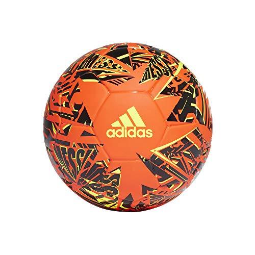 adidas Mens Messi Mini Soccer Ball, solar red/Black/solar Yellow, 1