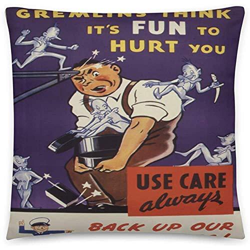 GodYo Vintage Poster - Arbeitssicherheit 0544 - Quadratische Kissenbezugfüllung - 18 x 18