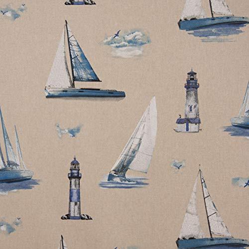 SCHÖNER LEBEN. Dekostoff Halbpanama Leinenlook Maritim Leuchtturm Segelboote Natur blau 1,40m Breite
