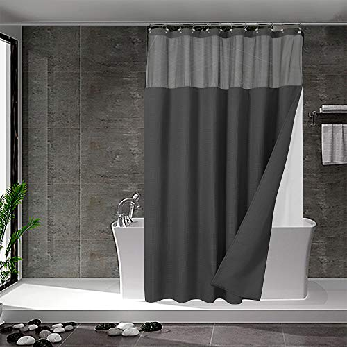 N&Y HOME - Juego de cortina de ducha de punto gofrado con forro y ganchos