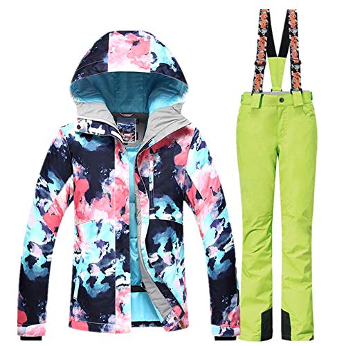 Fayella Skianzug Damen Skijacke Snowboardhose Winter Wasserdicht Outdoor Günstige Skianzug Damen Sportbekleidung Mantel, Ley, xs