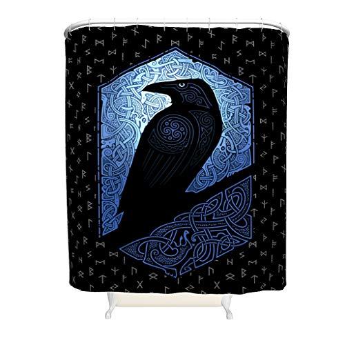 Viking Odin Ravens Hotel Duschvorhang Schimmel- & schimmelresistent Nr Chemischer Geruch für Badezimmerdekoration White 200x200cm