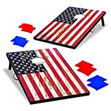 Backyard Champs Cornhole Outdoor Game Set USA Stars and Stripes – perfect for Backyard, Beach, Park, Tailgates, Outdoors and Indoors