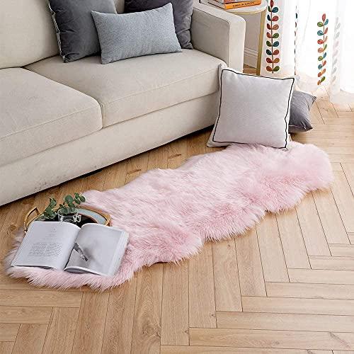SXYHKJ Faux Lammfell Schaffell Teppich Lammfellimitat Teppich Longhair Fell Optik Nachahmung Wolle Bettvorleger Sofa Matte (Pink, 60 x 160 cm)