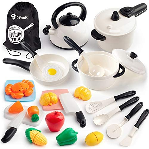 D FantiX Kid Kitchen Accessories 24Pcs Kitchen Pretend Play Toys Cooking Set Toddlers Pots and product image