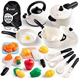 D-FantiX Kids Pretend Play Kitchen Accessories Set, Toddlers Pots and Pans Cookware Playset, Kids Cooking Toys with Utensils, Knife, Cutting Food Kitchen Playset for Girls and Boys Age 2 3 4 5 6 7