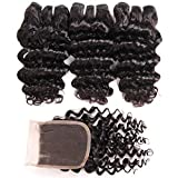 Brazilian Deep Wave Bundles with Closure (8 8 8+8) 100% Unprocessed Grade 10A Virgin Brazilian Deep Curly Weave Human Hair 3 Bundles with Lace Closure 4x4 Free Part Natural Black 50g/pc