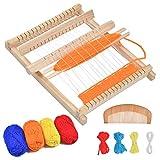 YANSHON Webrahmen Holz, Schulwebrahmen, Webstuhl Set für Kindern, 23.5x16.7cm , Holzwebrahmen mit Fäden, Kamm, Schiffchen und Wollfaden