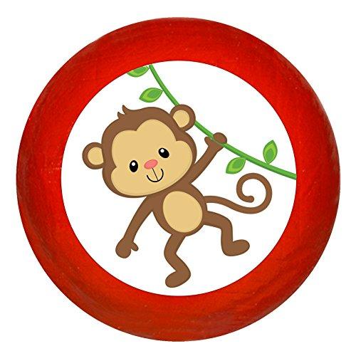 """Kindermöbelknopf""""Affe"""" rot Holz Buche Kinder Kinderzimmer 1 Stück wilde Tiere Zootiere Dschungeltiere Traum Kind"""