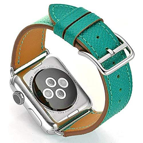 MIJI Correa de Cuero de Vaca para Apple Watch 5 Band 44Mm Iwatch Series 4 3 2 1 Accesorios de Reloj 42Mm Loop 38Mm Reemplazo de Pulsera 40Mm, Verde malaquita, 42 o 44Mm Nun Logo