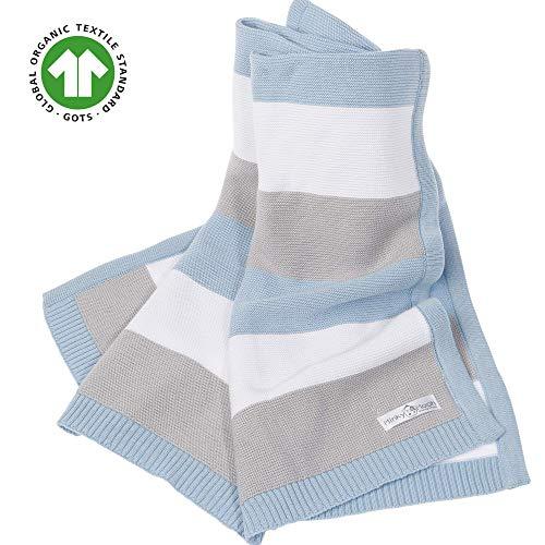 Babydecke aus 100% Bio Baumwolle - kuschelige Strickdecke ideal als Baby Decke, Erstlingsdecke, Wolldecke oder Baby Kuscheldecke in blau/grau/weiß für Jungen -inkl. Online Geburtsvorbereitungskurs