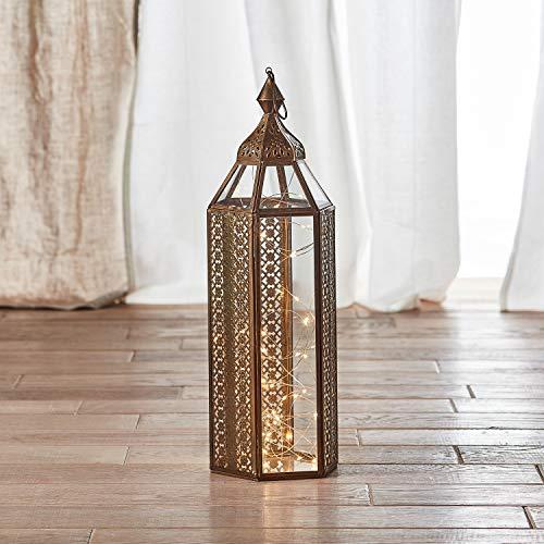 Lights4fun Große Artisan marokkanische Laterne Asilah 48cm inkl. 50er Micro Lichterkette