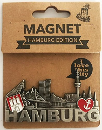 Hamburg Kühlschrankmagnet Metall Skyline Wappen III 8x6,5cm