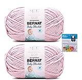 Bernat Baby Blanket Yarn - Big Ball (10.5 Oz) - Baby Pink - 2-Pack Bundle with Bella's Crafts Stitch Markers
