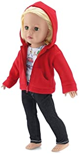 18 Inch Doll Clothes Fits American Girl 18 Dolls Emily Rose Doll Clothes Includes Black Stretch Skinny Jeans and Short Sleeved Paris Graphic T-Shirt Hooded Fleece Jacket Coat Value Outfit with Pockets