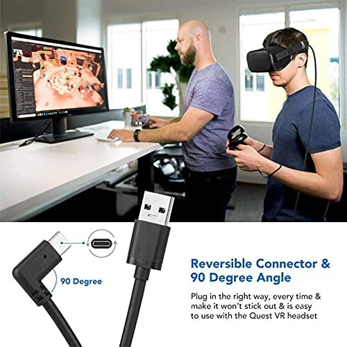 oculus quest 2 link cable,16FT USB Type C Charging Cable w Signal Booster Relay Amplifier Chip for Oculus Quest 2,Quest 1 With100W Fast Charging and 5GBP Data Transfer Cord for Gaming PC USB C Devices