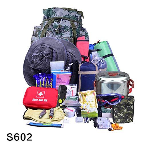 Kimmyer Bolsa Completa para terremotos, Suministros para Alivio de desastres, Equipo de Primeros Auxilios Equipo de Alivio para desastres para desastres S602 Kits de Emergencia para terremotos