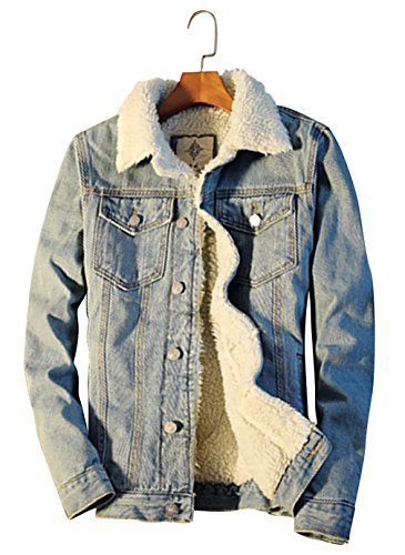 Beskie Men's Sherpa Lined Denim Jacket Button Down Classic Trucker Jackets Warm Casual Quilted Jeans Coats Outerwear