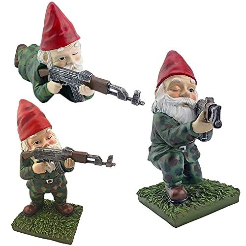Funny Army Garden Gnome Statue AK47, Amusing Army Garden Gnome Holding M-16 Statue Micro Landscape Garden Art Gifts (AK47-3PCS)