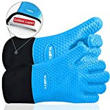 Walfos BBQ Grilling Gloves, Best Versatile Heat Resistant Grill Gloves Silicone Oven Mitts, Thick...