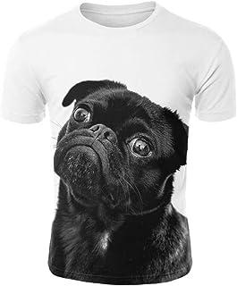 تي شيرت رجالي مطبوع عليه حيوانات في الشوارع مضحك ثلاثي الأبعاد قميص للرجال الصيف لطيف الحيوانات الأليفة منعش بأكمام قصيرة