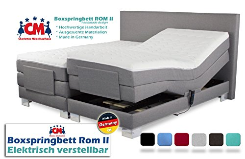 Boxspringbett ROM II elektrisch 140x200 cm verstellbar mit 2 Motoren. Manufaktur Design. Härtegrad H2 / H3 frei wählbar. Made in Germany. 140 x 200. Qualität Made in Germany. (140 x 200 cm)