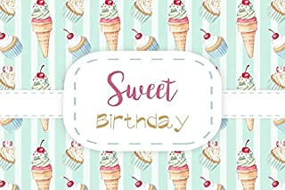 Baocicco 6x4ft Polyester Happy Birthday Backdrop Ice Cream Cupcakes Cherry Decor Banner Blue and White Stripes Photography Background Ice Cream Party Sweety Party Cake Smash Party Photo Booth