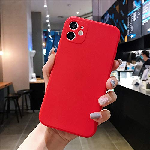AAA&LIU Estuche Cuadrado de Color Caramelo para iPhone 7 8 6 6s Plus Funda de TPU Suave y Simple para iPhone 11 Pro MAX X XS XR XS MAX, Rojo, para iPhone 8