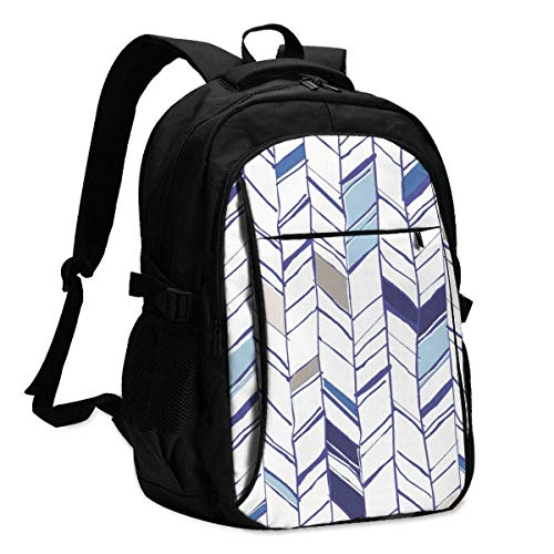 IUBBKI Mod Triangles Navy Blush Mint Office & School Supplies with USB Data Cable and Music Jack Laptop Bags Computer Notebook 18.1X13.3 inch