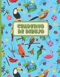 CUADERNO DE DIBUJO: Bloc de 100 paginas en blanco | Libreta infantil para dibujar | Regalo creativo para niños amantes de los animales | Lindo diseño de loros y tucanes.