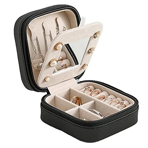 Joyero, pequeño joyero de viaje con espejo, organizador portátil para anillos, pulseras, pendientes, collares