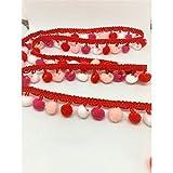 TOMASELLI MERCERIA Passamaneria PON PON Rosso Rosa Fucsia e Bianco su Una Fila Alto 2 cm