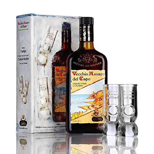 CAFFO | Vecchio Amaro del Capo | BOTTIGLIA IN ASTUCCIO + 2 BICCHIERI ORIGINALI | 35% Vol. | 70 cl | (1 BOTTIGLIA | 70 cl | 35% Vol.)