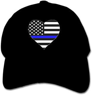 Pldmkg Thin Blue Line American Flag Heart Children's Hat Cap Teenager Hip Hop Hat Lightweight Quick Drying Baseball Hat