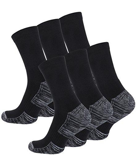 6 Paar Multifunktionssocken Outdoorsocken mit Polstersohle Trekking - Wandersocken(43-46, schwarz-grau meliert)