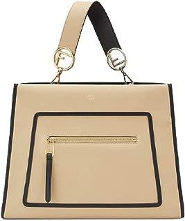 Fendi Shopping Bag Runaway Calf Leather Amido Beige w Black Trim Handbag Tote 8BH343