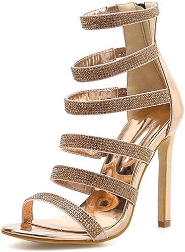 YAN Haut Talon Sandales Femmes 2019 Nouveau Nouveau Nouveau Sexy Strass Plate-Forme Stiletto Chaussures Pointu Robe Chaussures Party & soirée Or,or,36 003