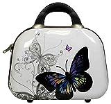 Vanity, valise à roulettes,bagage à main rigide en polycarbonate ABS - Taille XL, L, M, S, Papillon blanc. (Multicolore) - unknown