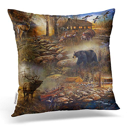 Accrocn Throw Pillow Covers Vintage Chic Cute Forest Animal Deer Bear Pillowcases Polyester 18 x 18 Inch Cushion Decorative Pillowcase Square with Hidden Zipper Home Sofa