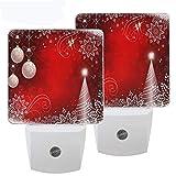 Pfrewn Merry Christmas Tree Bell Night Light Plug in Set of 2 for Kids Adults Boys Girls Babies,Winter Snowflake Night Lights Led Auto Motion Senor for Reading Bathroom Bedroom Nursery Decorative