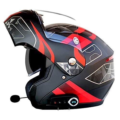 Casco de Moto Modular Bluetooth Integrado Dot/ECER 22-05 Aprobado Flip Up Motocicleta Doble Visera Anti Niebla HD Reducción de Ruido con Altavoz Incorporado Casco Unisex, 59~64cm