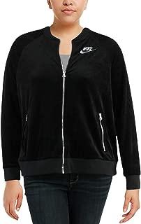 Womens Plus Size Velour Fitness Track Jacket, Black (3X)